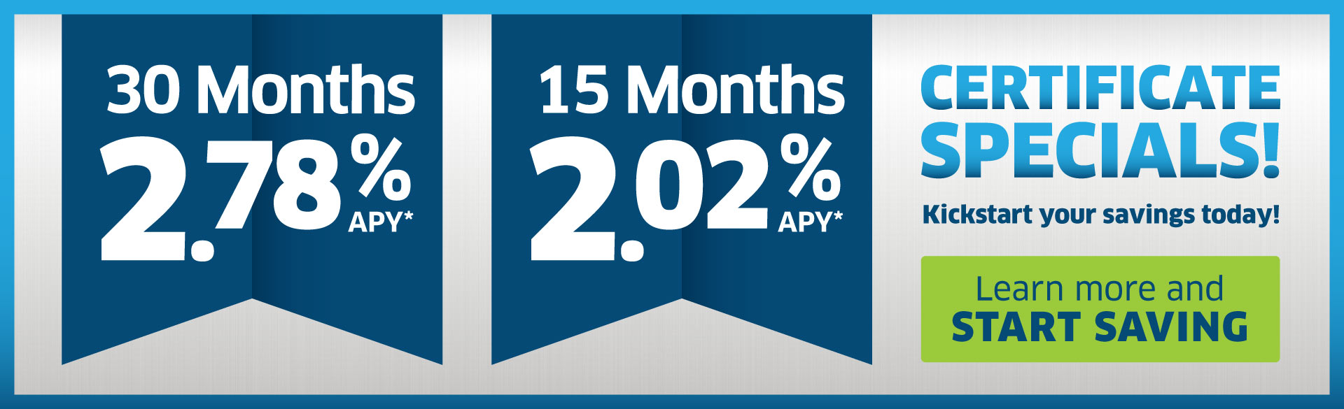 30 Month and 15 Month Share Certificate Specials - Web Banner